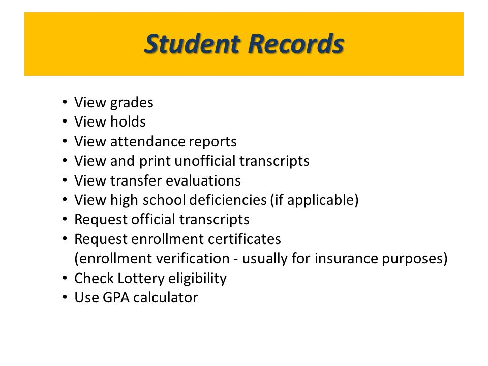 What's in GoldLink Student Records