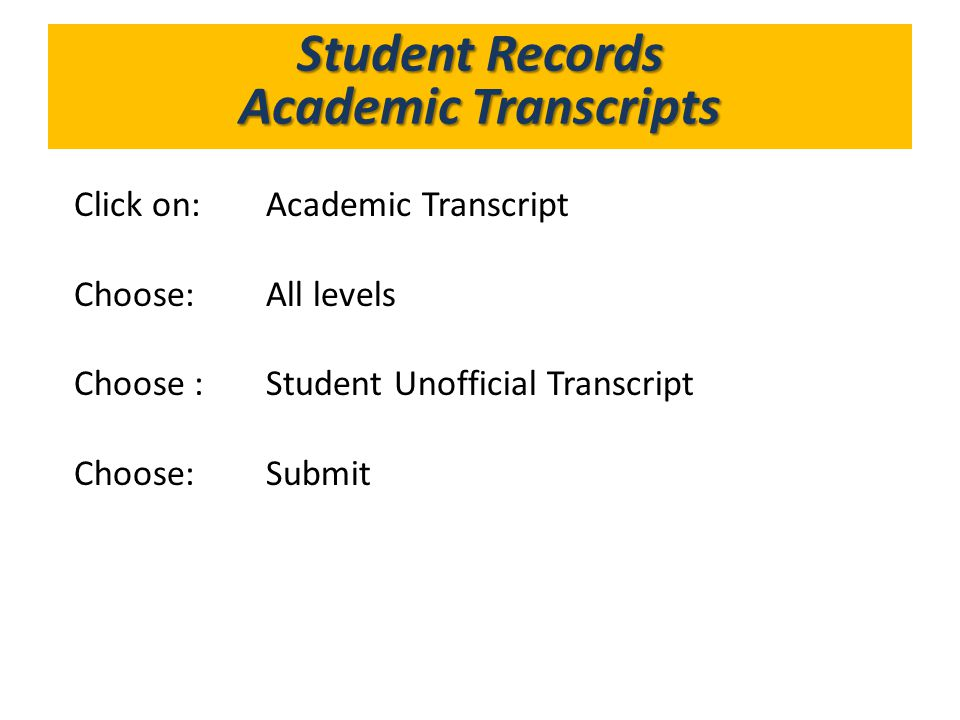 What's in GoldLink Student Records Academic Transcripts