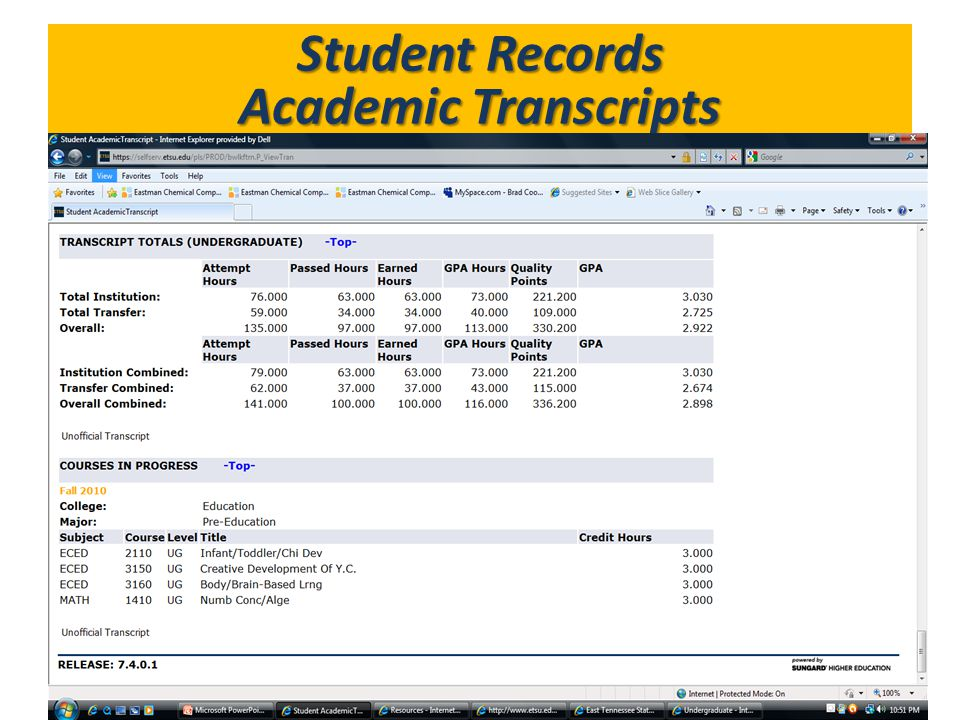 Student Records Academic Transcripts What's in GoldLink