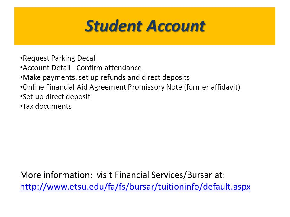 What's in GoldLink Student Account