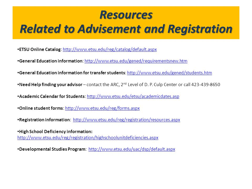 Related to Advisement and Registration