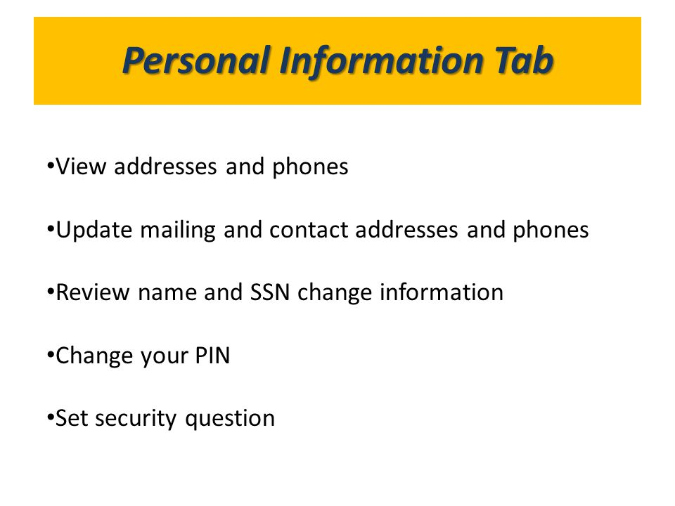 Personal Information Tab