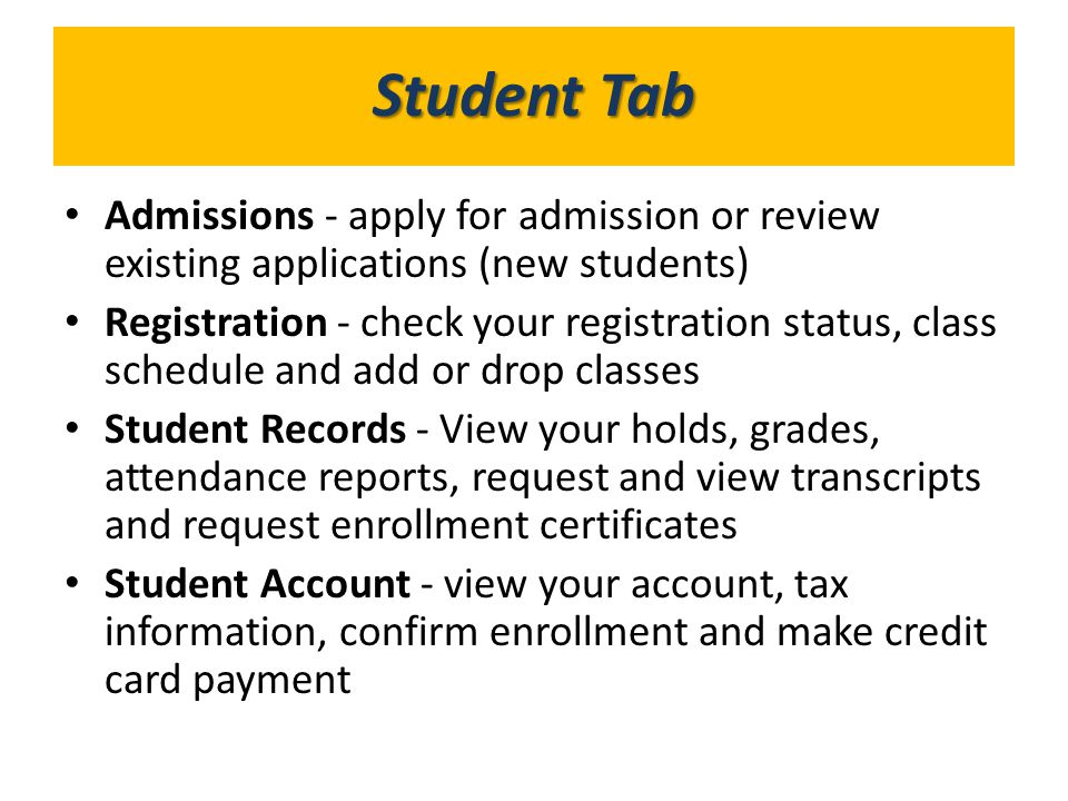 What's in GoldLink Student Tab