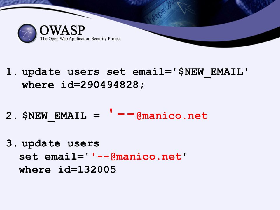 update users set email= $NEW_EMAIL where id=290494828;