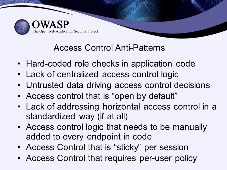 Access Control Anti-Patterns