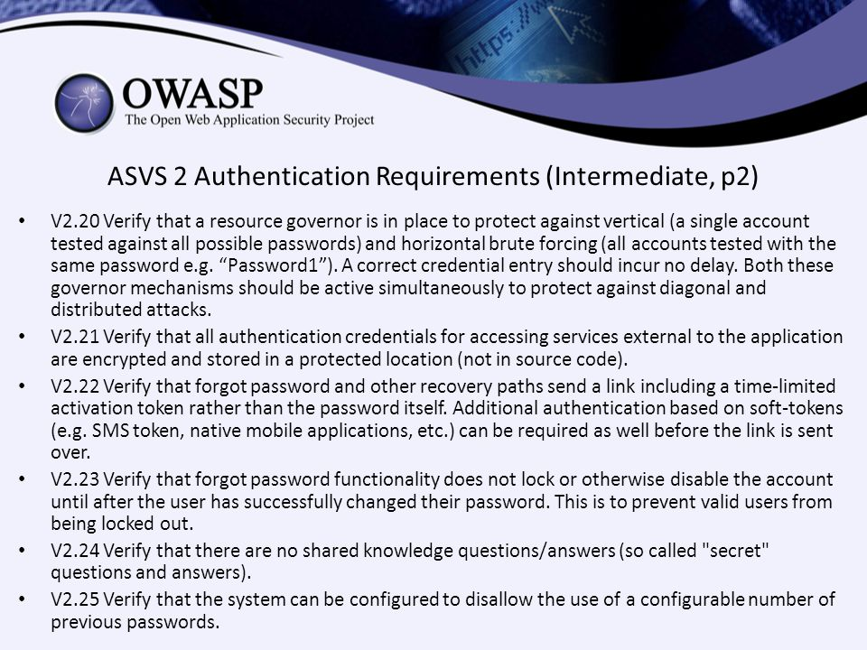 ASVS 2 Authentication Requirements (Intermediate, p2)
