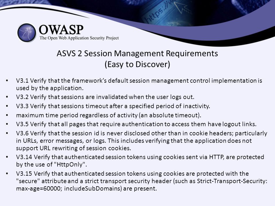 ASVS 2 Session Management Requirements (Easy to Discover)