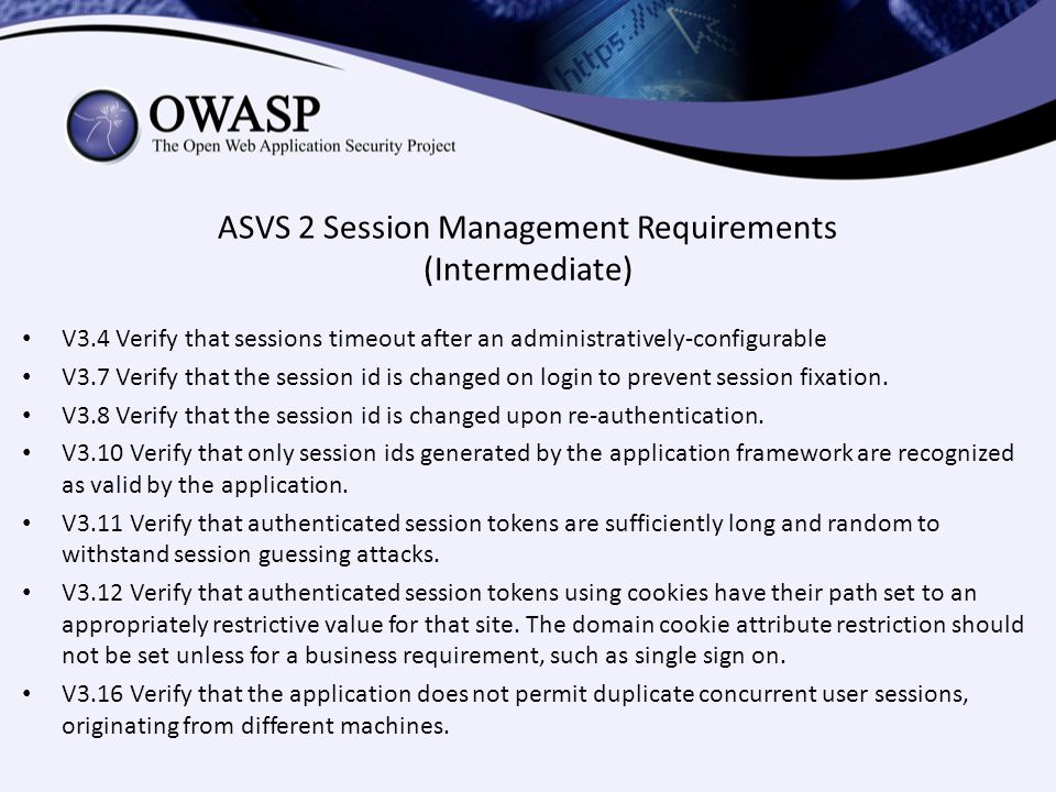 ASVS 2 Session Management Requirements (Intermediate)