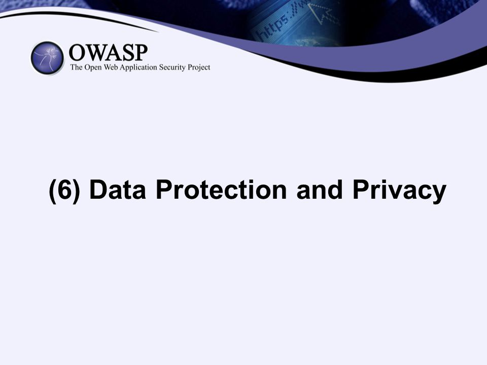 (6) Data Protection and Privacy