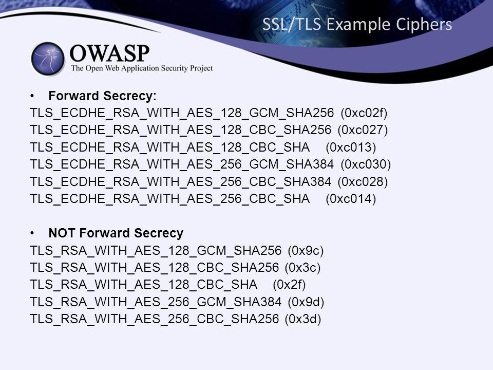SSL/TLS Example Ciphers