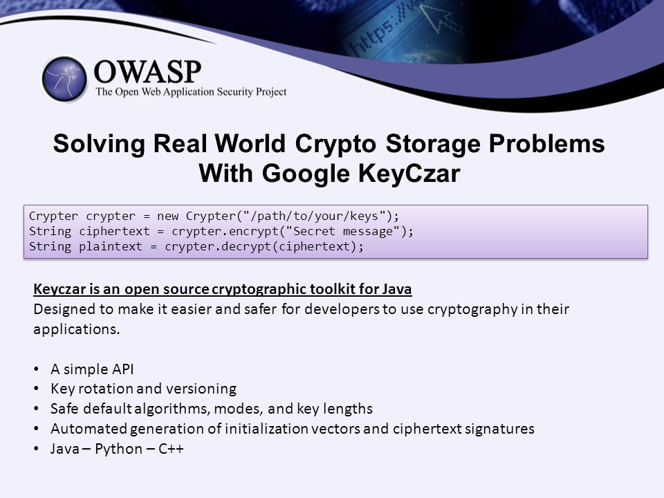 Solving Real World Crypto Storage Problems