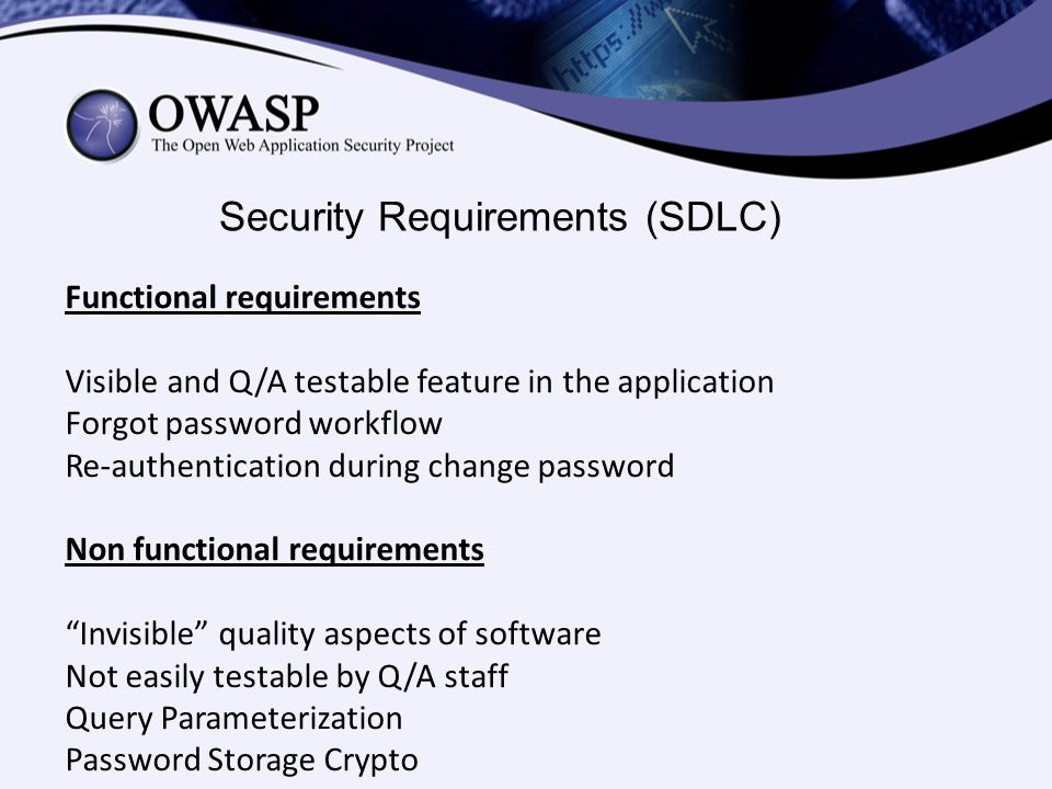 Security Requirements (SDLC)