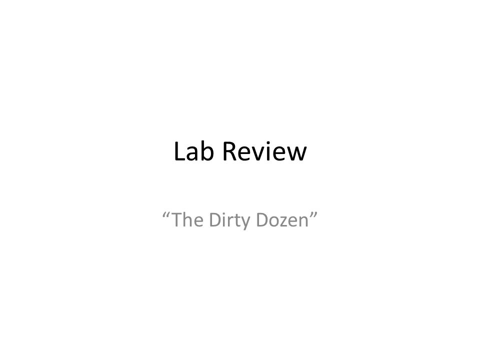 Lab Review The Dirty Dozen