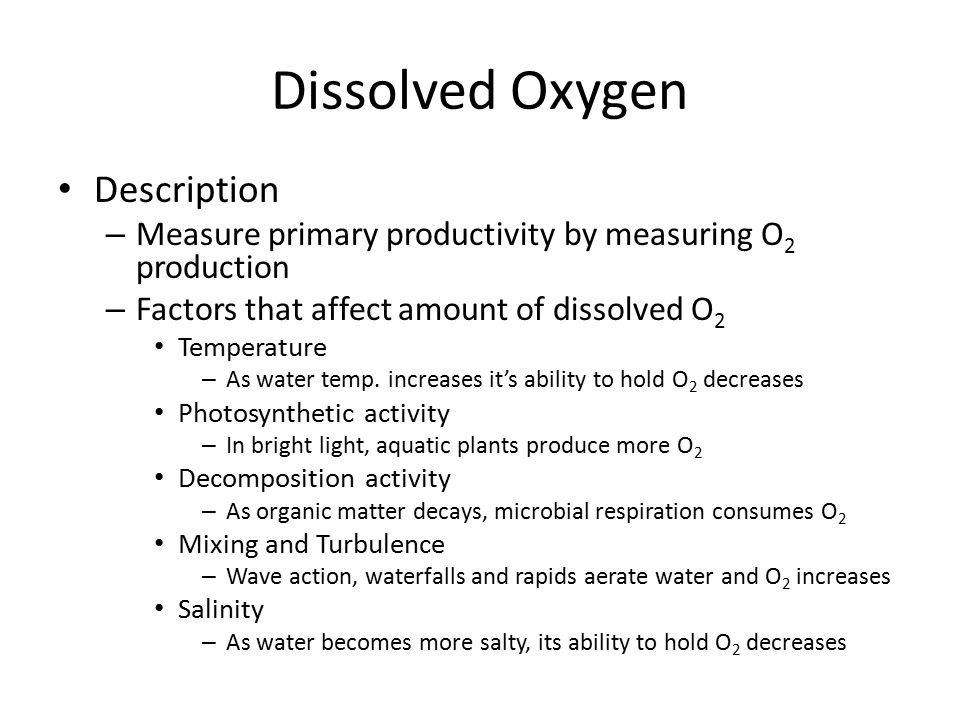 Dissolved Oxygen Description