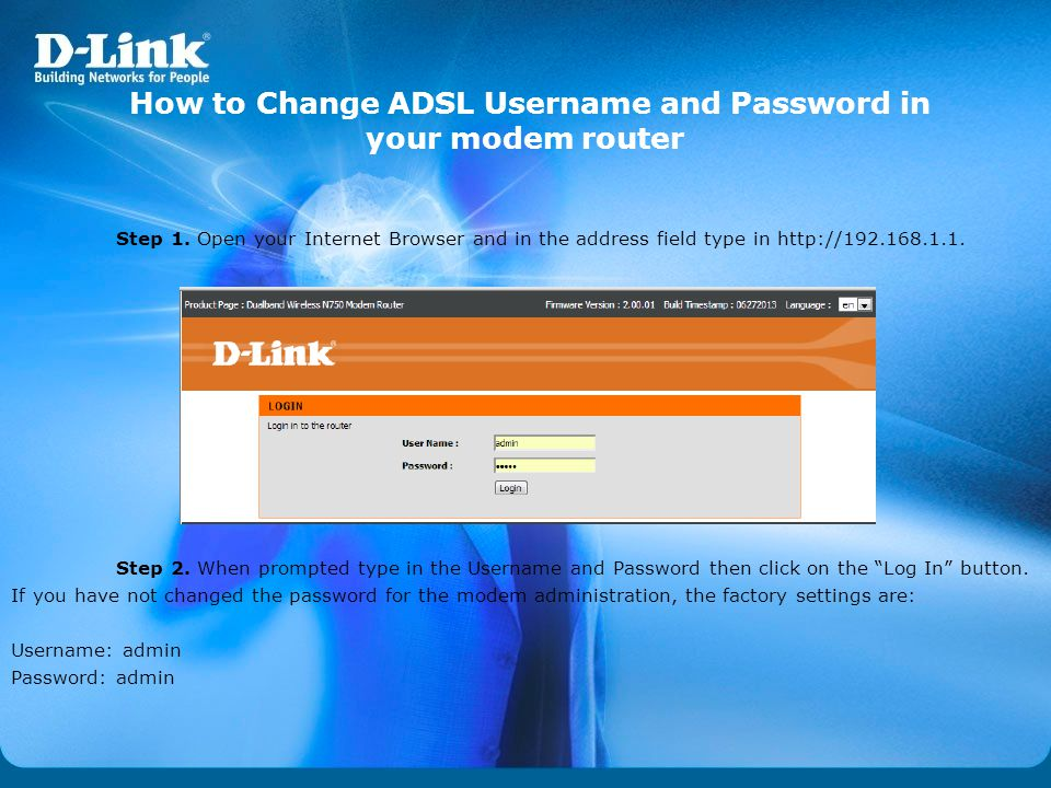 How to Change ADSL Username and Password in your modem router