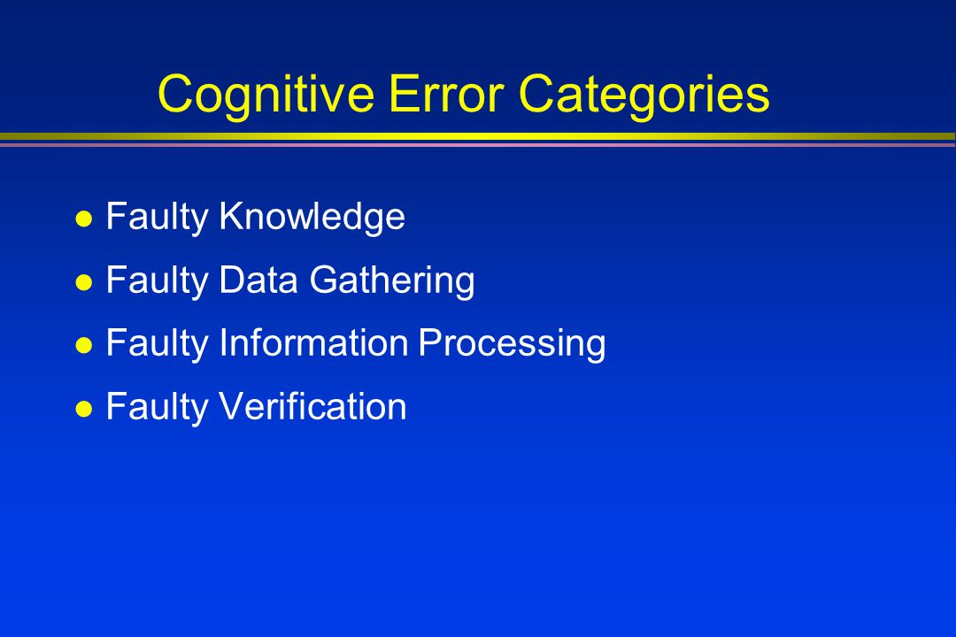 Cognitive Error Categories