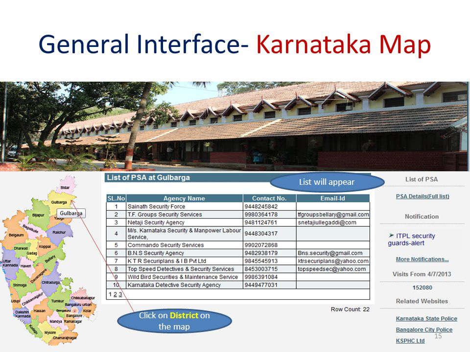 General Interface- Karnataka Map