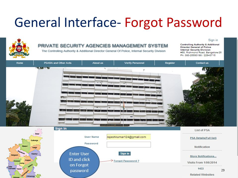 General Interface- Forgot Password