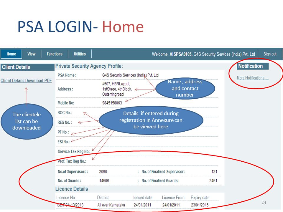 PSA LOGIN- Home Name , address and contact number