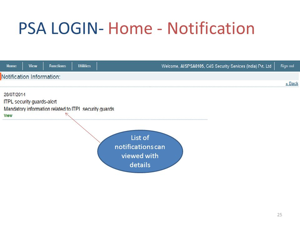 PSA LOGIN- Home - Notification