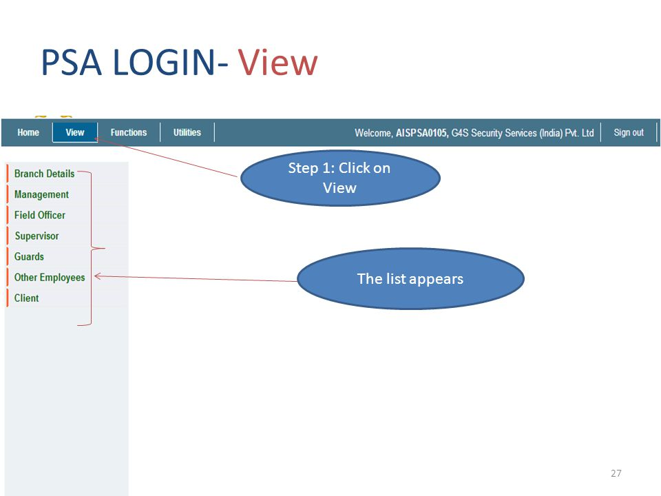 PSA LOGIN- View Step 1: Click on View The list appears