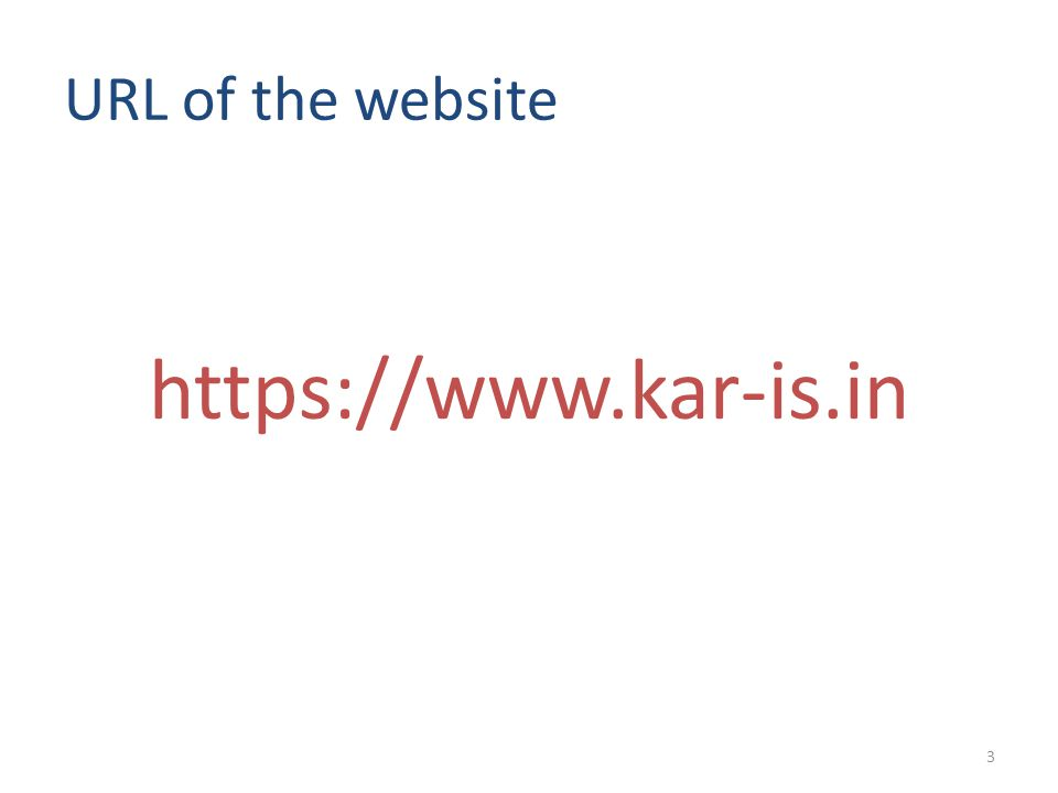 URL of the website https://www.kar-is.in