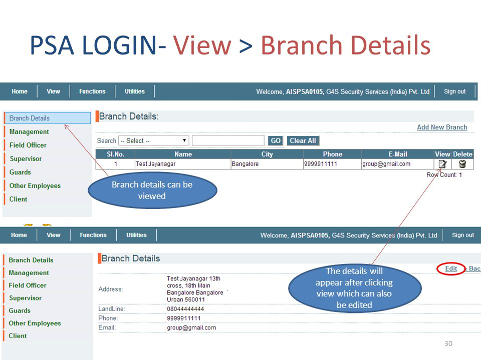 PSA LOGIN- View > Branch Details