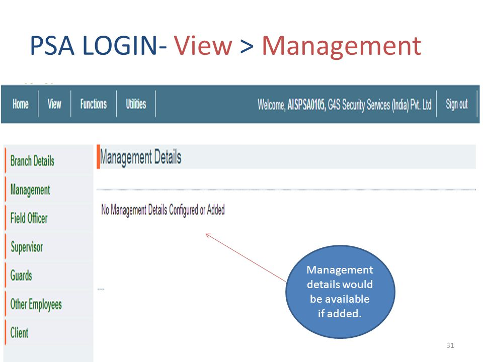 PSA LOGIN- View > Management