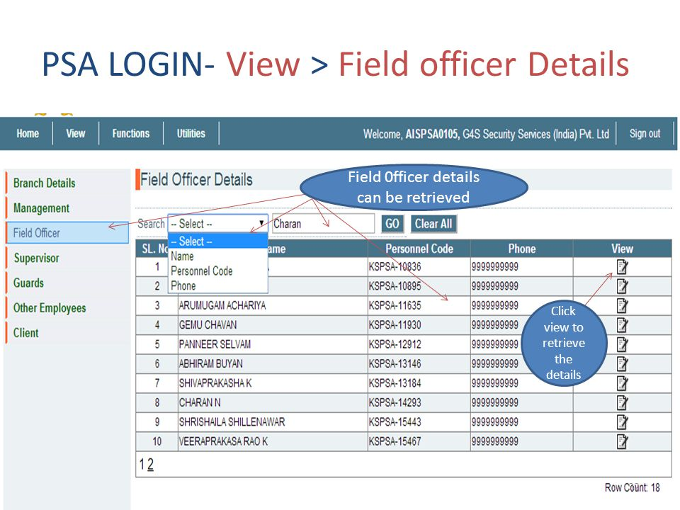 PSA LOGIN- View > Field officer Details