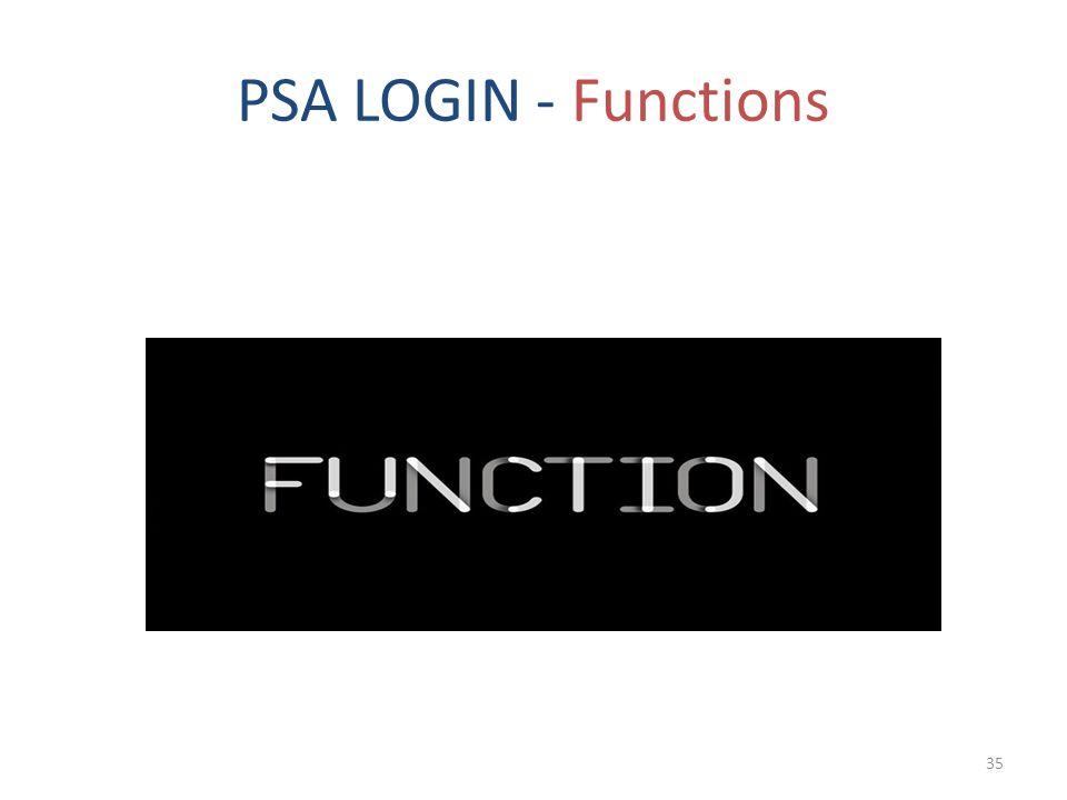 PSA LOGIN - Functions