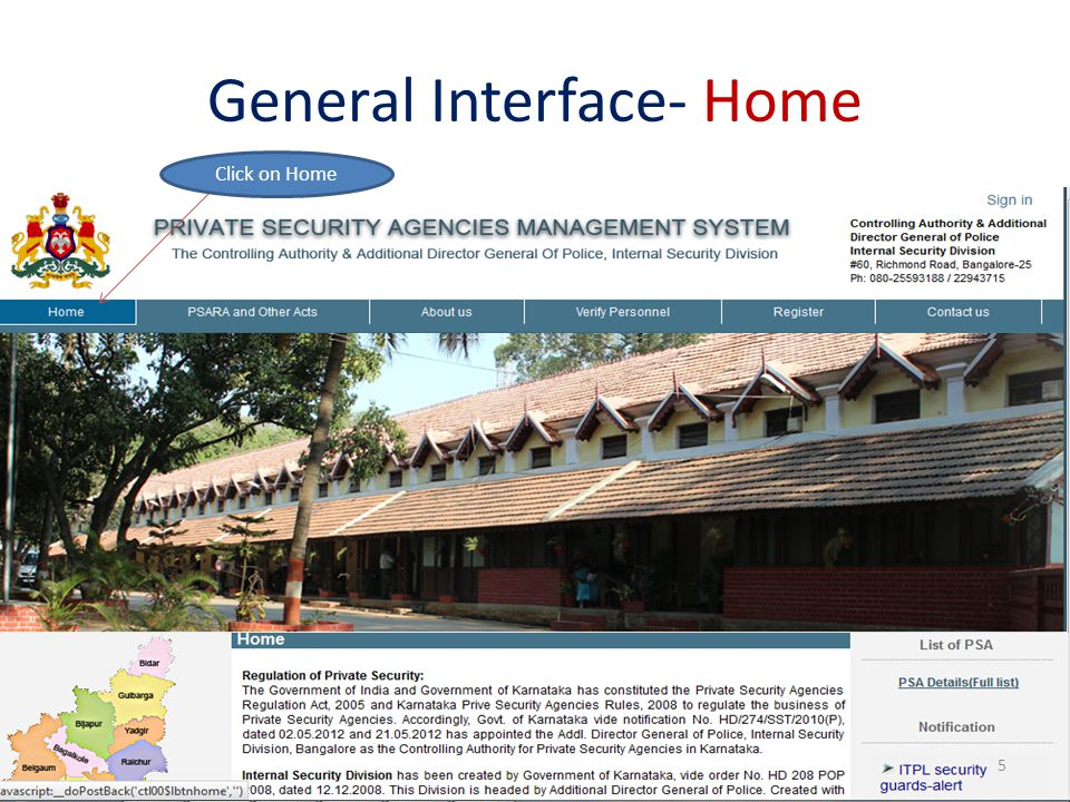 General Interface- Home