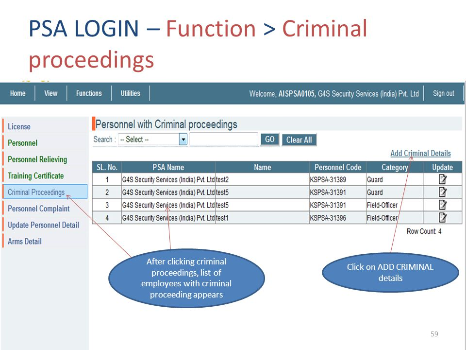 PSA LOGIN – Function > Criminal proceedings