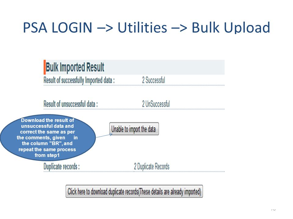 PSA LOGIN –> Utilities –> Bulk Upload