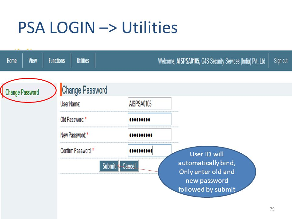 PSA LOGIN –> Utilities
