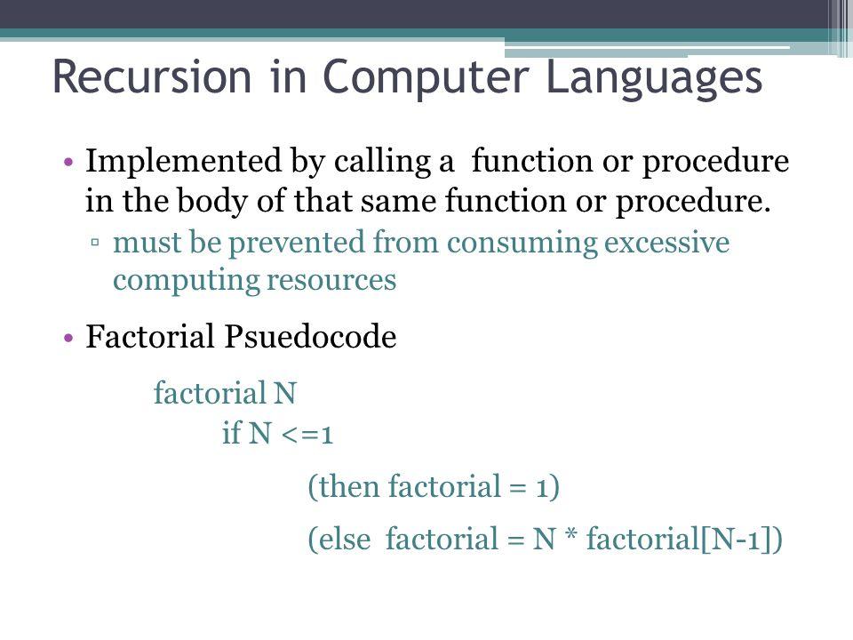 Recursion in Computer Languages