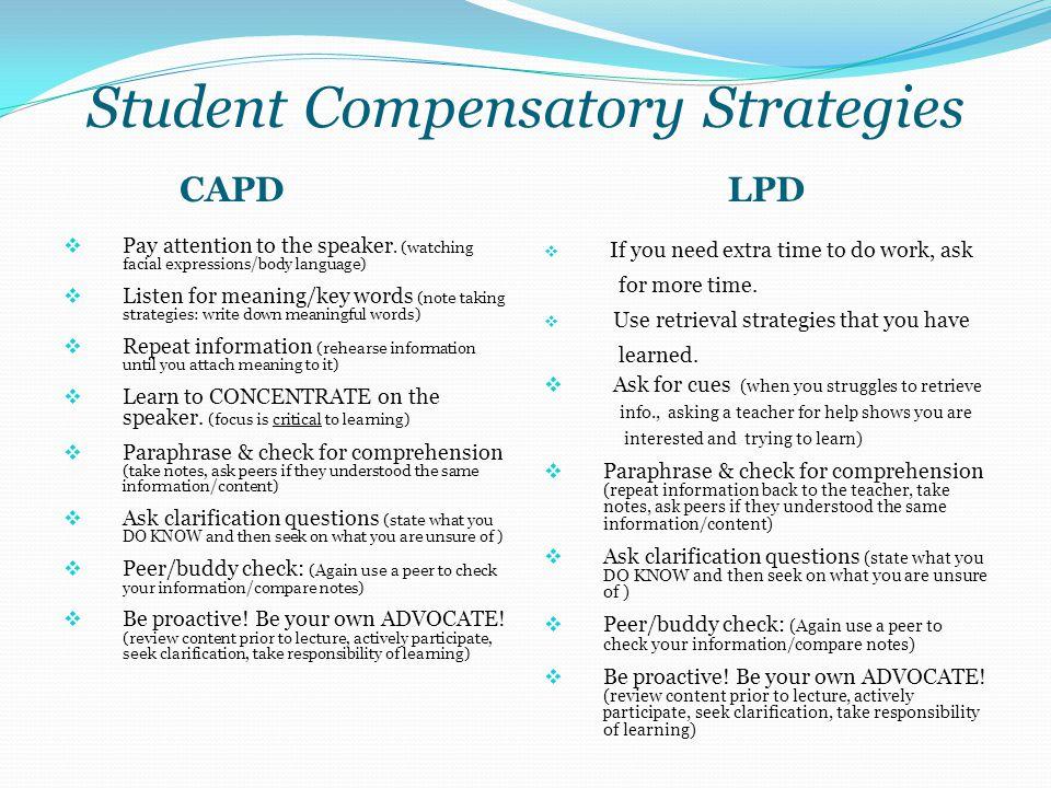 Student Compensatory Strategies