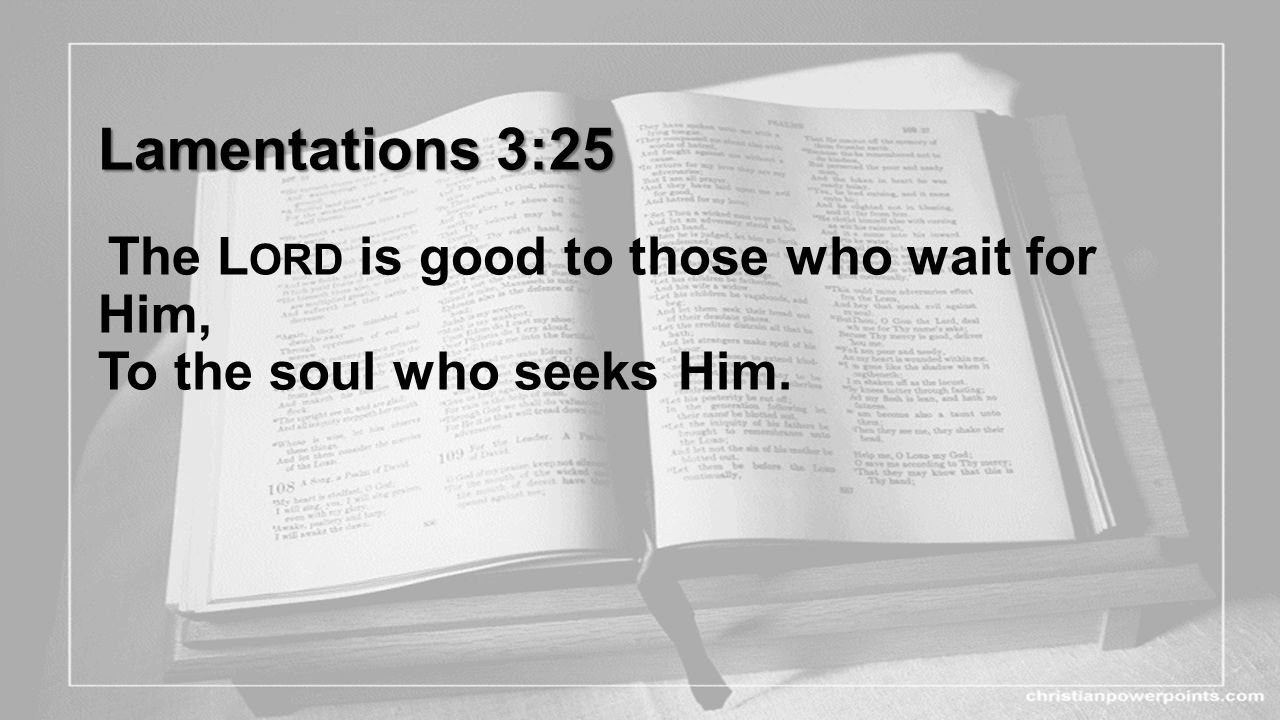 Lamentations 3:25 The Lord is good to those who wait for Him, To the soul who seeks Him.