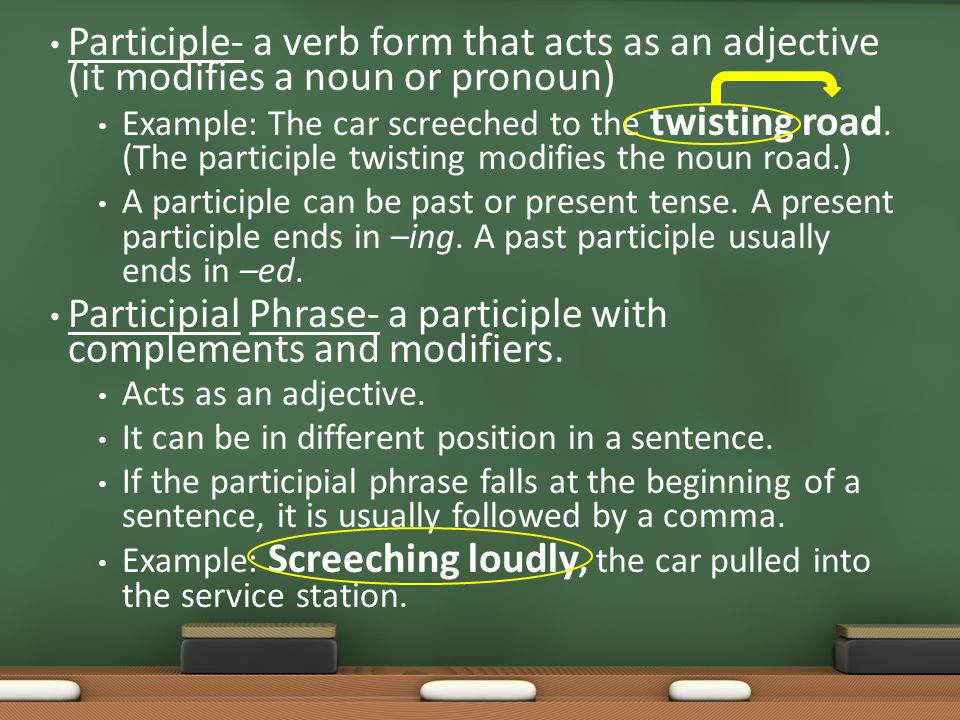Participial Phrase- a participle with complements and modifiers.