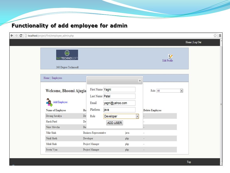 Functionality of add employee for admin