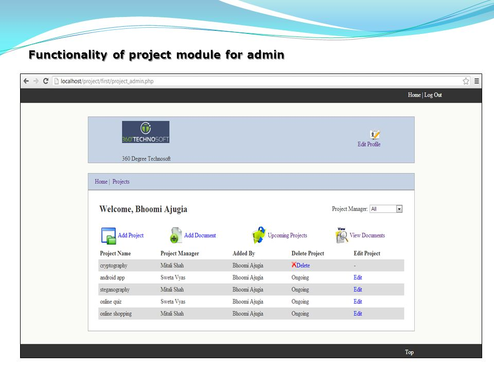 Functionality of project module for admin
