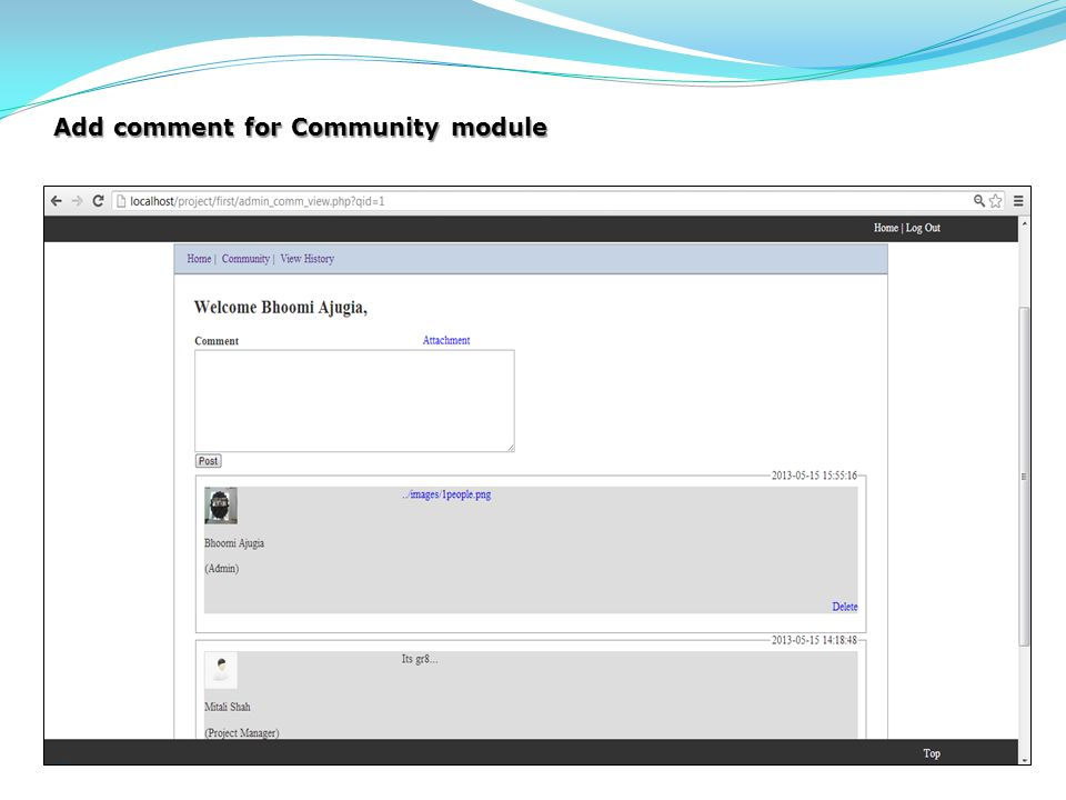 Add comment for Community module