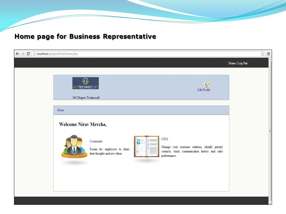 Home page for Business Representative