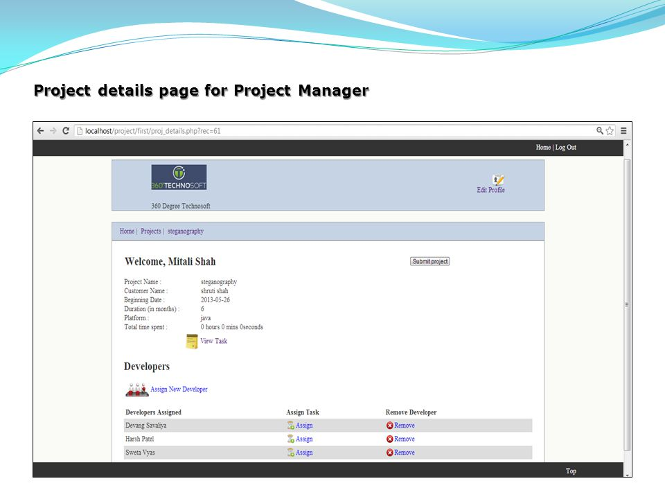 Project details page for Project Manager