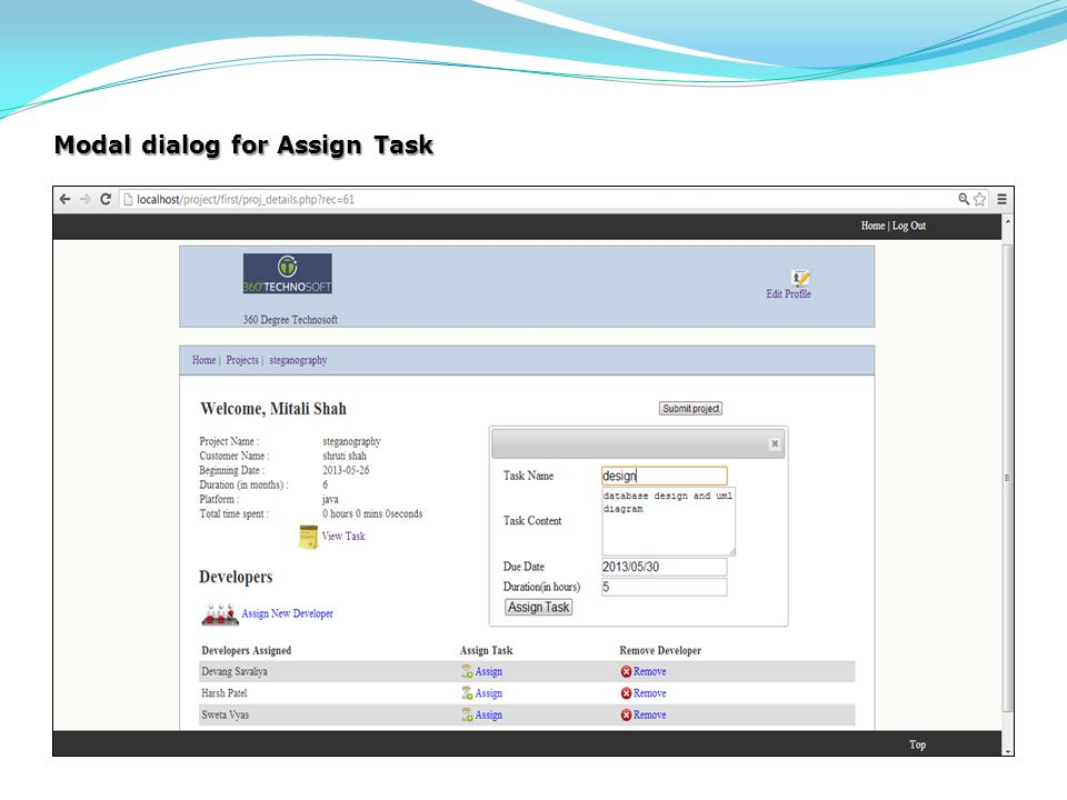 Modal dialog for Assign Task