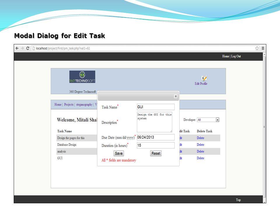 Modal Dialog for Edit Task