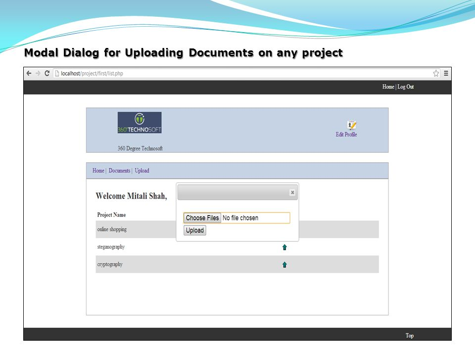 Modal Dialog for Uploading Documents on any project