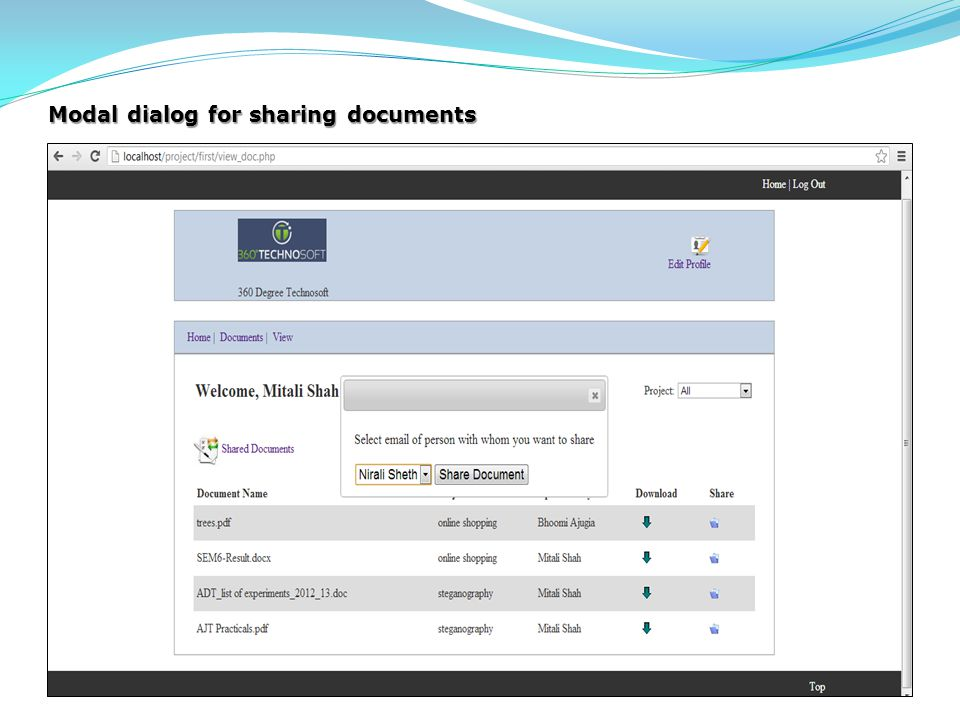 Modal dialog for sharing documents