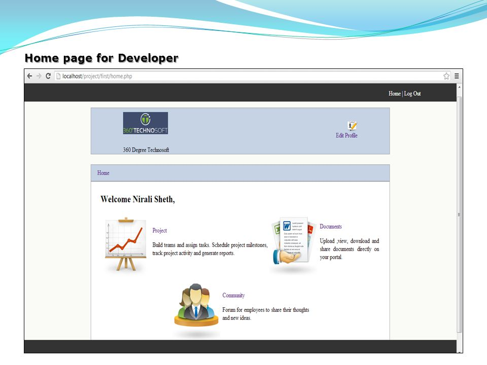 Home page for Developer