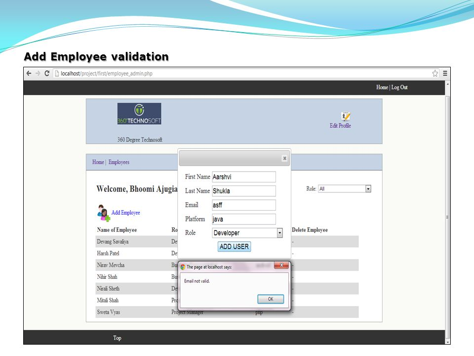 Add Employee validation