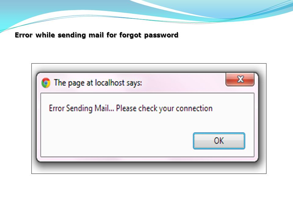Error while sending mail for forgot password